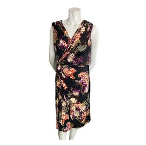 Adrianna Papell Floral Dress with Knotted Front L